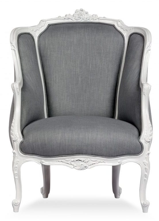 lucy armchair grey fabric upholstery with white wooden legs
