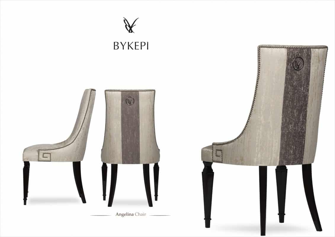Angelina chair front and back view, two colours fabric upholstery with wooden legs