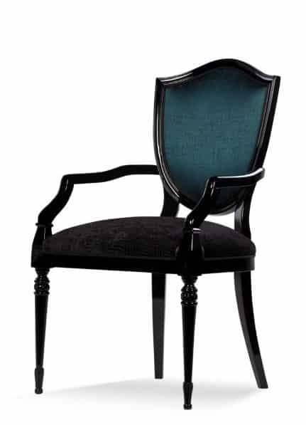 Classic style London chairs with arms rests, fabric upholstery
