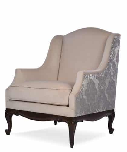 victoria armchair front view beige upholstery