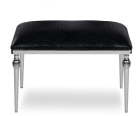 ottoman with chrome legs and black fabric upholstery