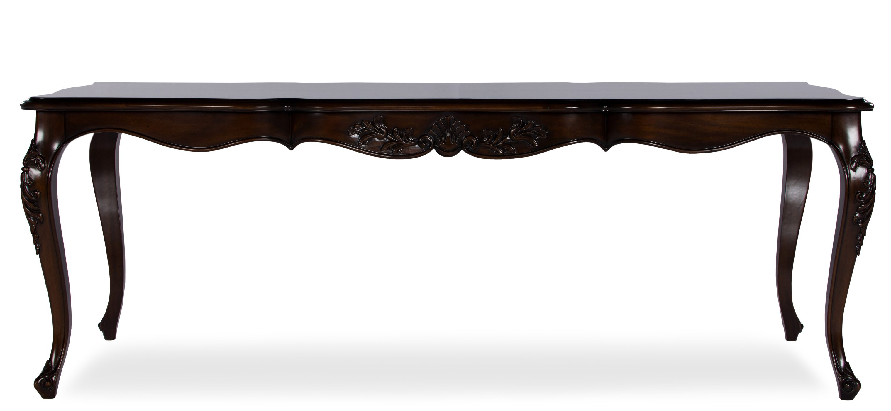 classic type wooden table with curved legs