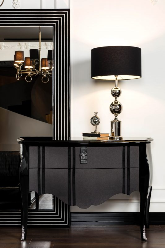 black glossy chest of drawers