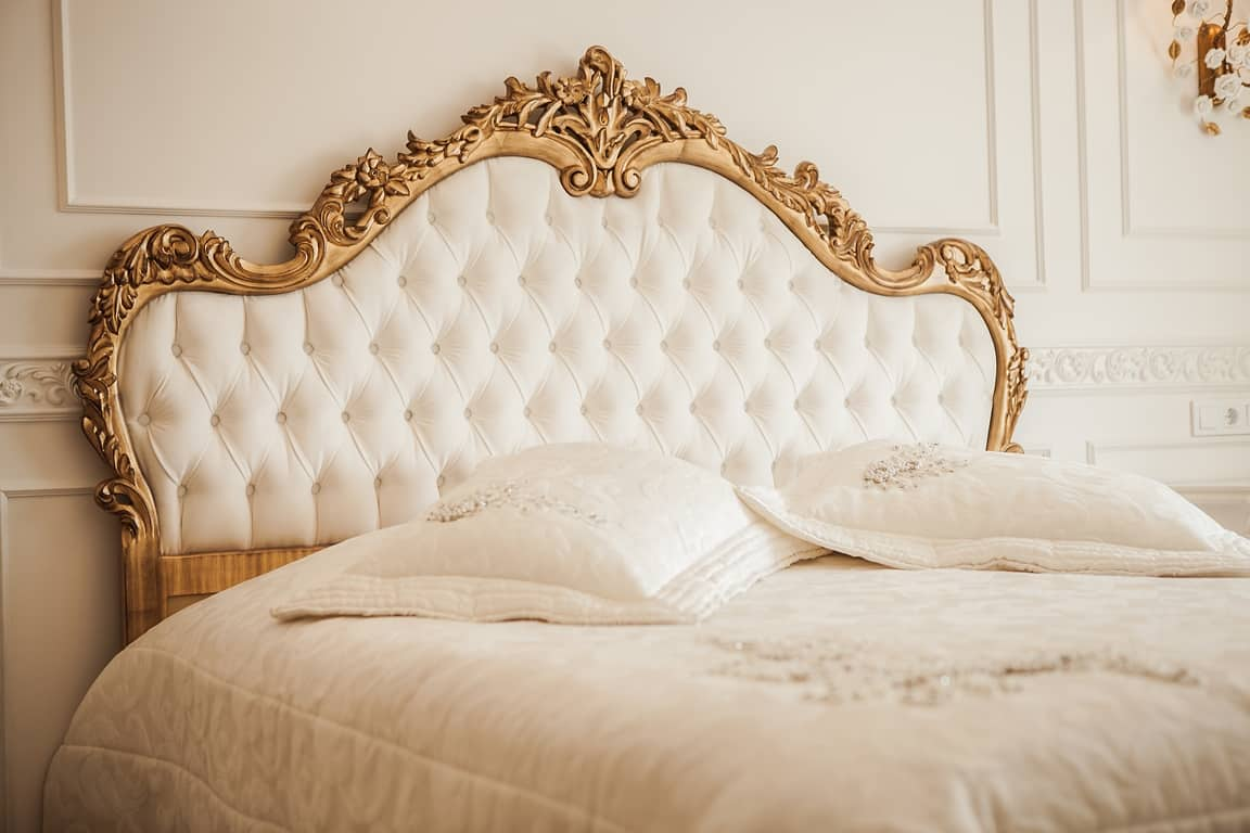 french furniture for bedroom, tufted curved headboard in french style