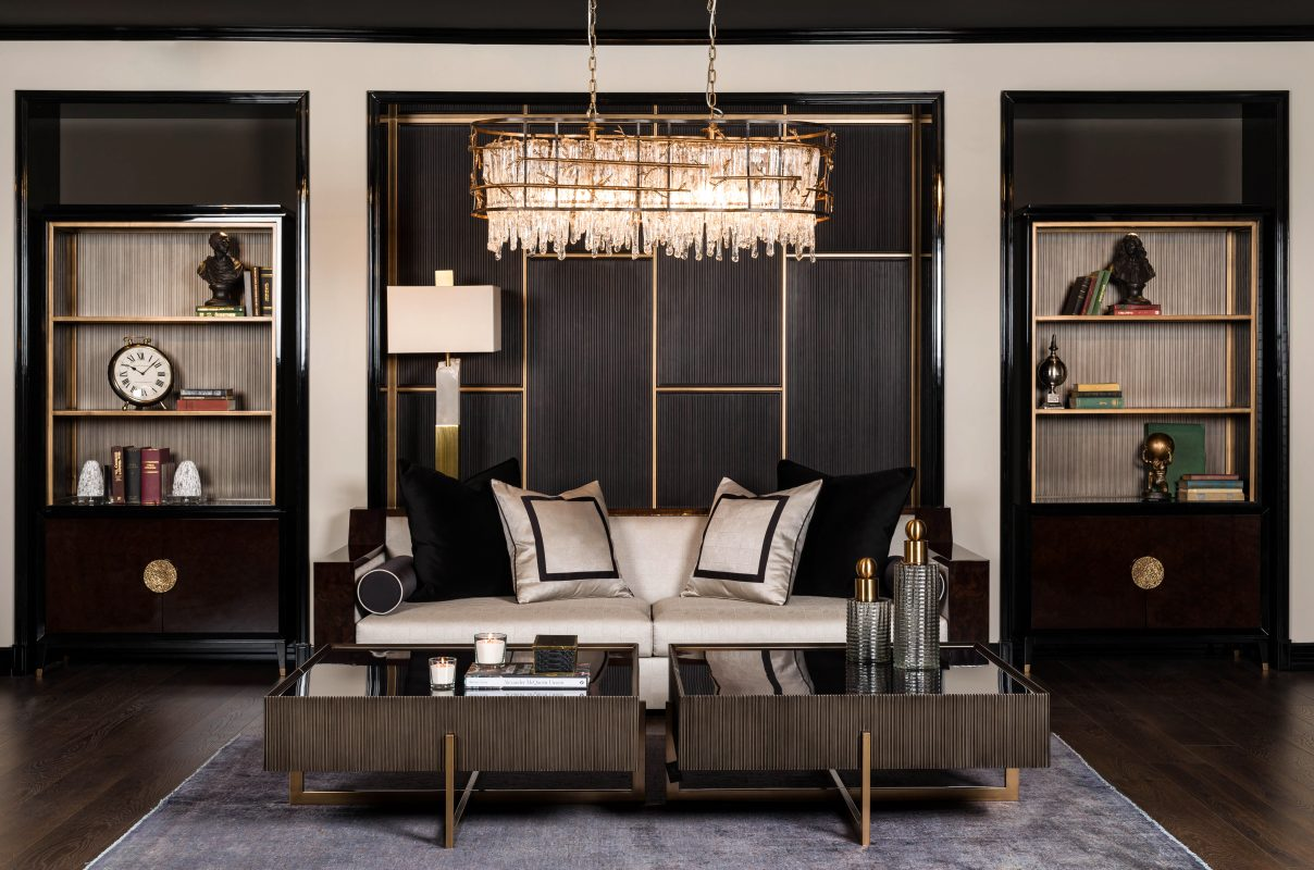 Living room contemporary style coffee tables, bookcases