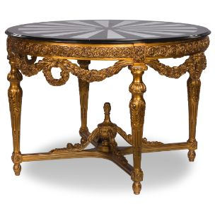 Adonita round table, classic table with golden legs and marble top