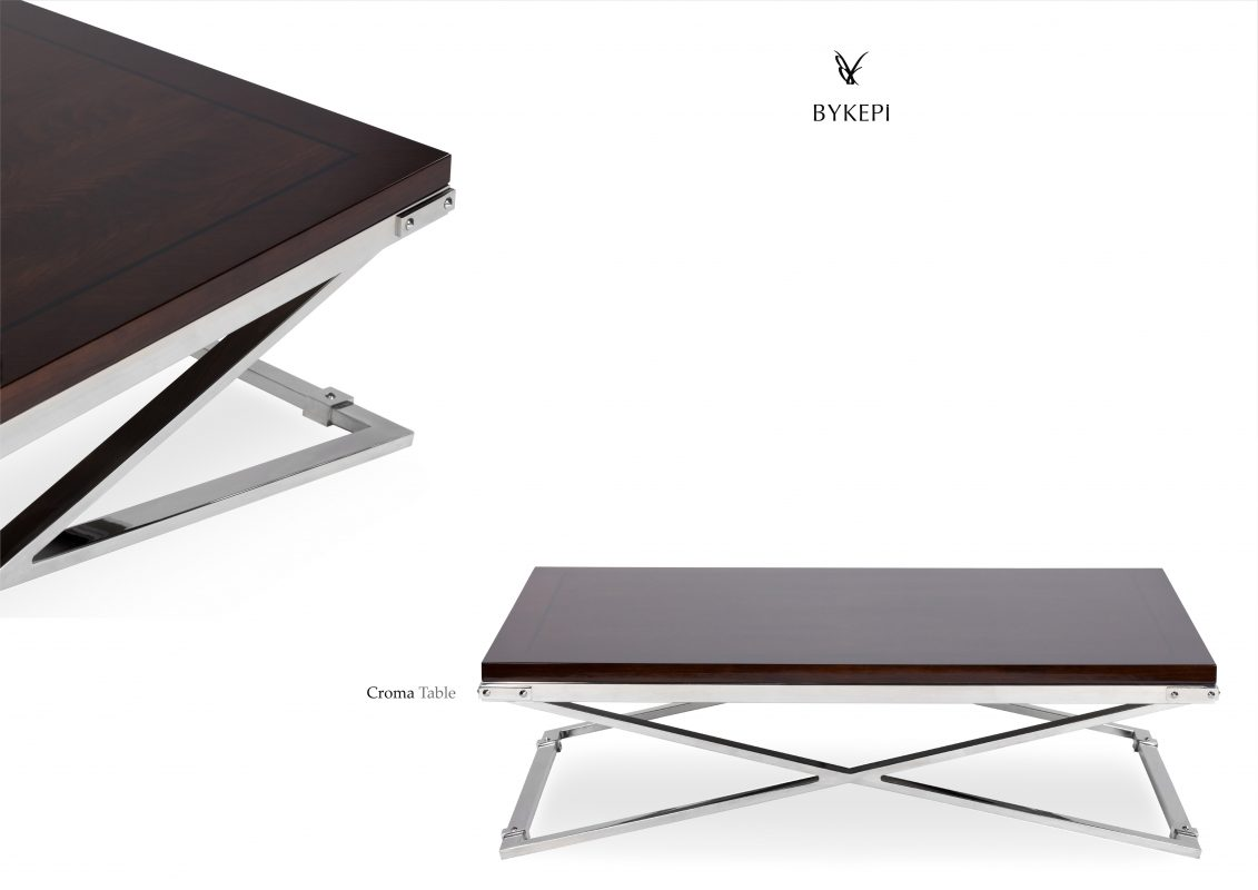 croma Coffee table with wooden top front view