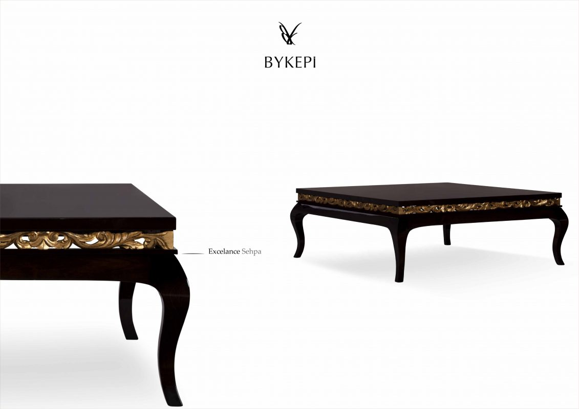 Excellence coffee table front view, classic style, solid wood with golden decor elements
