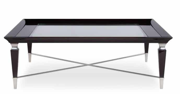 team coffee table with glass top front view