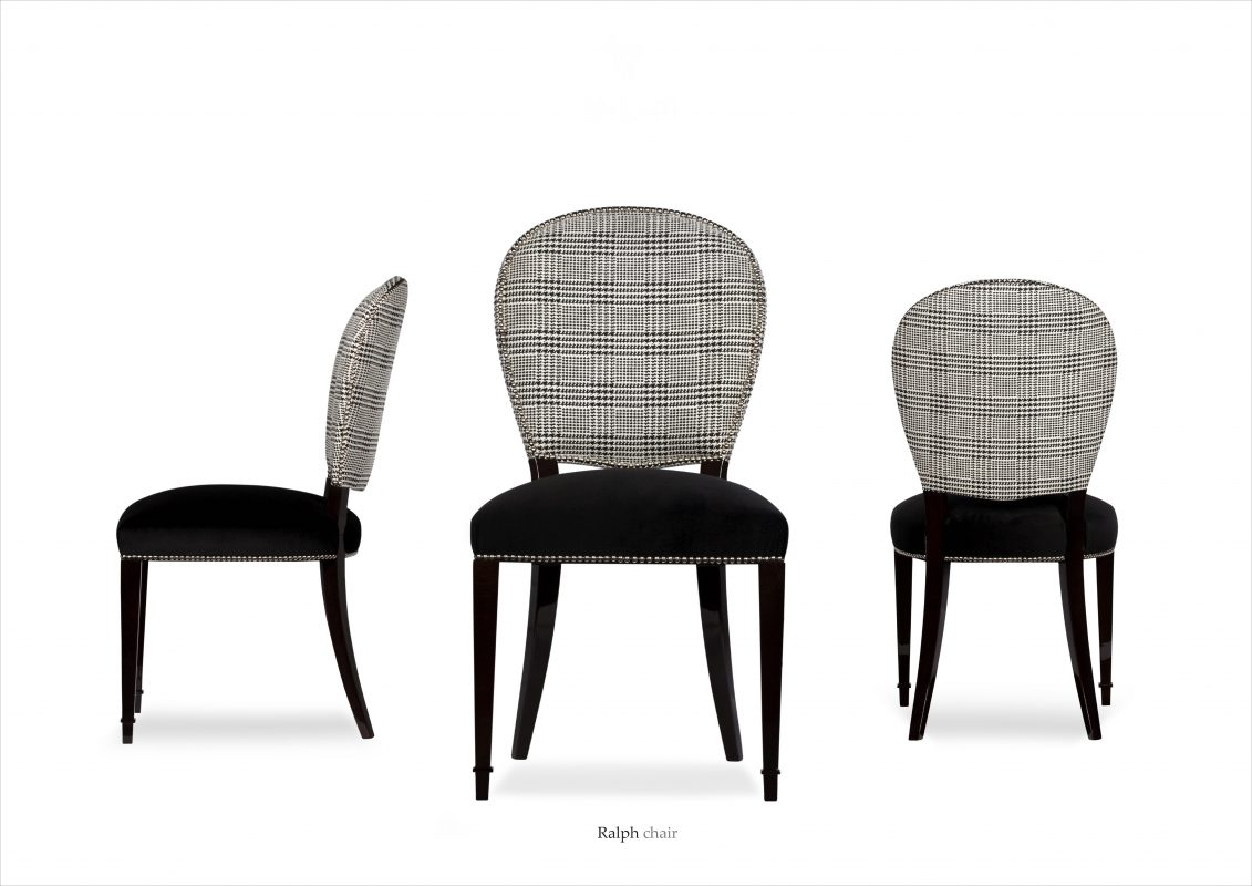 Dining chairs black and grey velvet