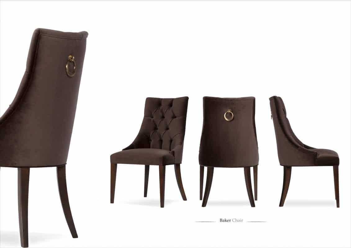 baker chair with brown velvet upholstery