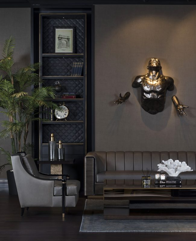 montana living area with sculpture on wall