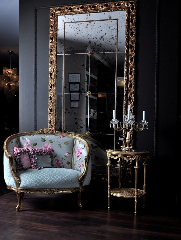french furniture french style armchair with aged golden mirror